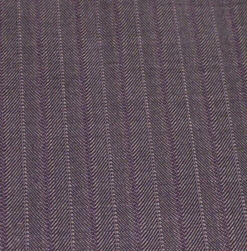 Very Fine Italian Pure Wool Suiting Gray Herringbone with Purple Pinstripe