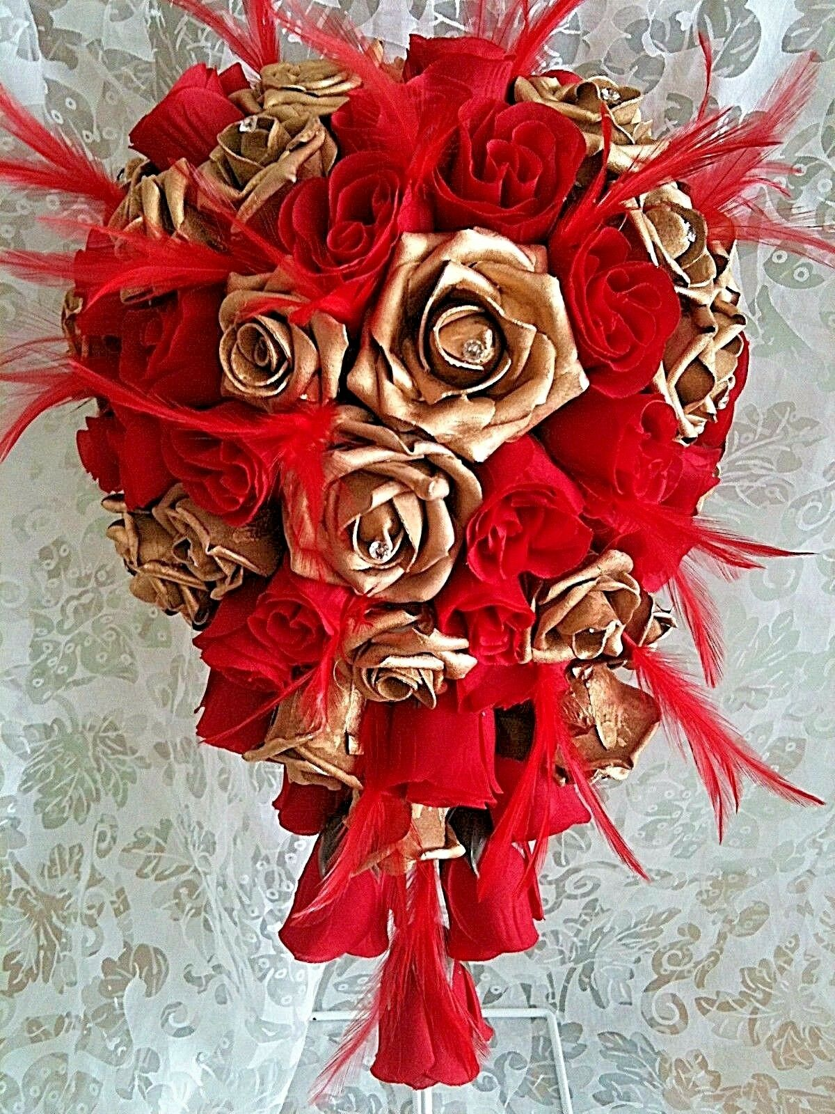 Gold and bright rot teardrop Wedding bouquet  rot feathers  diamantes ANY COLOUR
