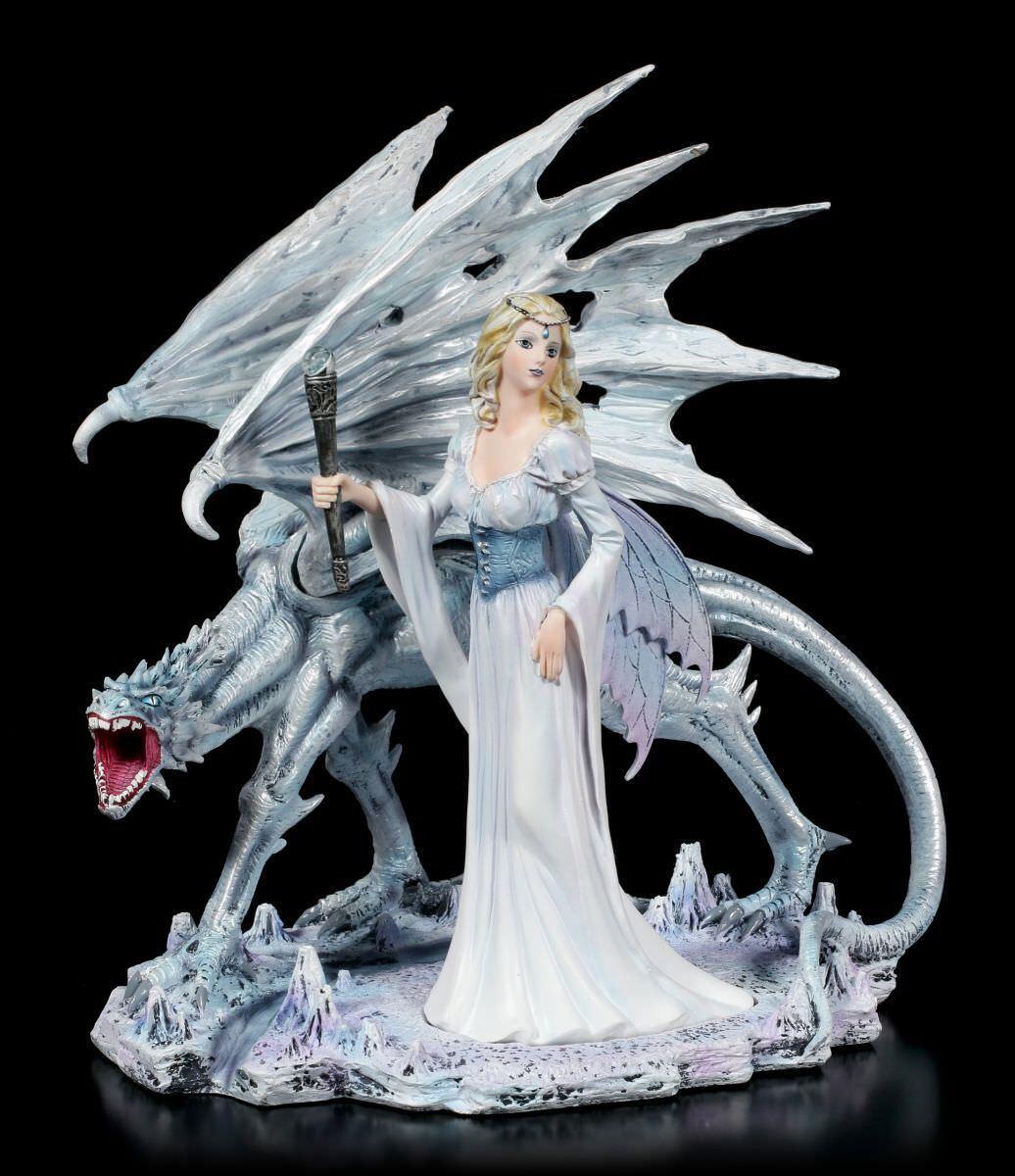Figura Elfos - Calista con Dragón de Hielo - Fantasy Hada Decoración Lagarto