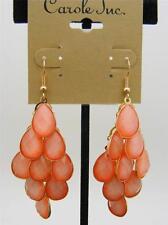 $12 Carole Chandelier Orange Faceted Beads Drop Dangle Goldtone Earrings Hook