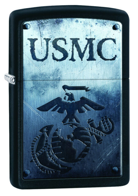 Zippo United States Marine Corps Black Matte Windproof Lighter 28744 New
