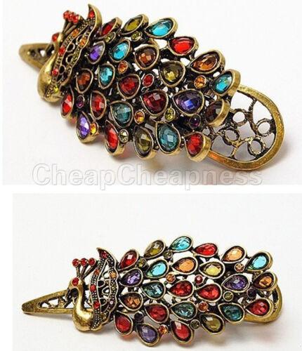1X Vintage Girls Women Crystal Rhinestone Peacock Hair Barrette Clip Hairpin S!