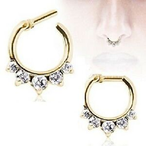 New-Gold-Plated-Clear-CZ-Gem-Jewelled-Diath-Nose-Septum-Ring-Hoop-14g-16g