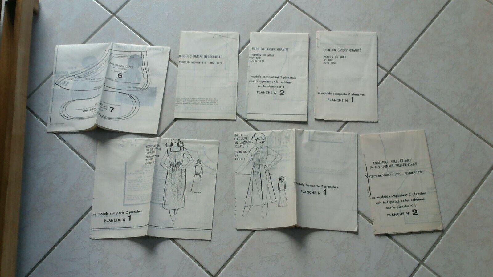 Rare 1978 lot 7 patrons Poupée modes  et travaux originaux  PORT GRATUIT   negozio di moda in vendita