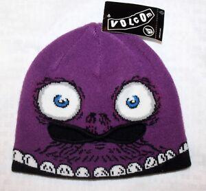 Volcom Beanie Hat Ski Snow  Make A Face Mask  Black Plum White NWT ... 78fa039b446