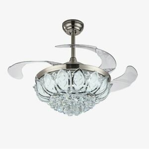 42-034-Chrome-Silver-Remote-Invisible-Ceiling-Fan-Lamp-Crystal-LED-Chandelier-Light