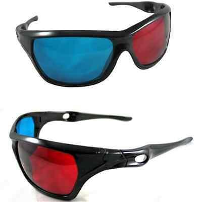 Plastic 3D Vision Glasses Red Blue Dimensional Anaglyph Framed Plasma TV Movie J