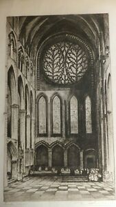 E-W-SHARLAND-Lincoln-Cathedral-Old-Original-Etching-Signed