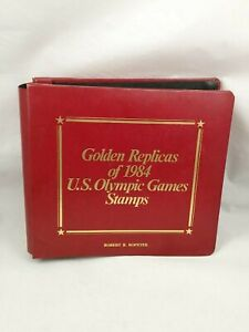 Vtg-Golden-Replicas-of-1984-US-Olympic-Games-Stamps-Set-of-24-FDCs-In-Album