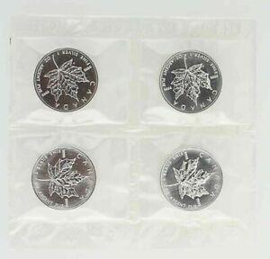 Lot-of-5-Maple-Leaf-Canadian-1-Troy-Oz-999-Fine-Silver-1-5-Roll
