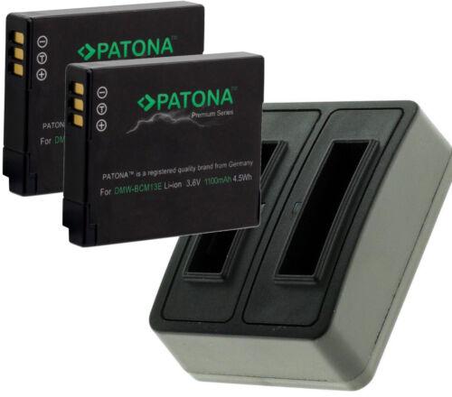 2 batteria premium per Panasonic Lumix dmc-tz58//dmw-bcm13 e CARICABATTERIE dual