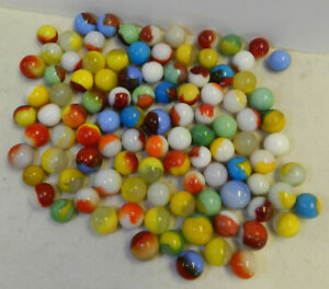 #12143m Vintage Bulk Lot of 100 Mixed Company Patch Marbles .57 to .74 Inches