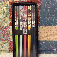 Boxed 5 Piece Maneki-neko Chopstick Set New.