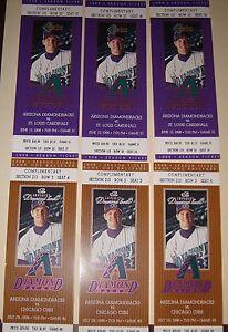 ARIZONA DIAMONDBACKS set of 6 unused tickets 1998 inaugural season (Cards+Cubs)