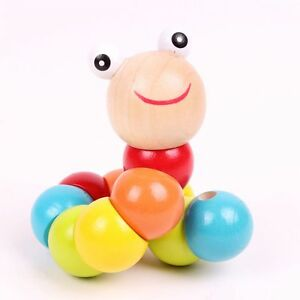 Early Children Baby Gift Kids Wooden Twist Caterpillar Educational Insect Toy