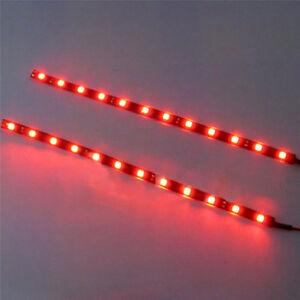2PC Red 12V Car Decor Waterproof 12 LED 30cm 5050 SMD Strip Flexible Light