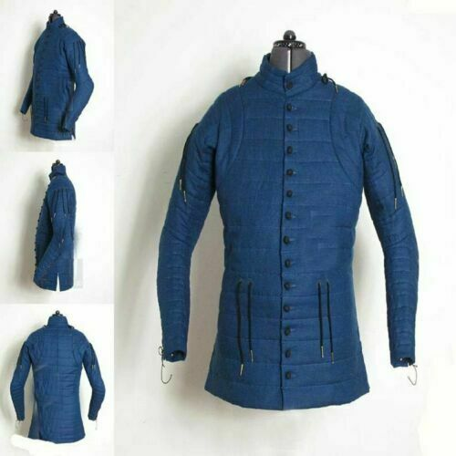Medieval Costume Gambeson Reenactment Theater Blue Color Nice Style