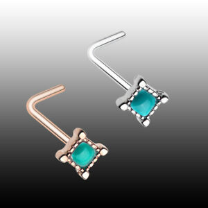 5 x Sterling Silver Turquoise L Shape Nose Studs Piercing Body Jewellery