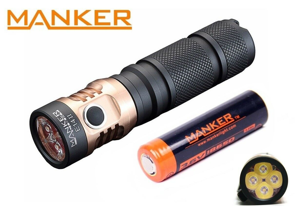 New Manker E14 II (White) USB Recharge Cree XP-G3 2200LM LED Flashlight w 18650