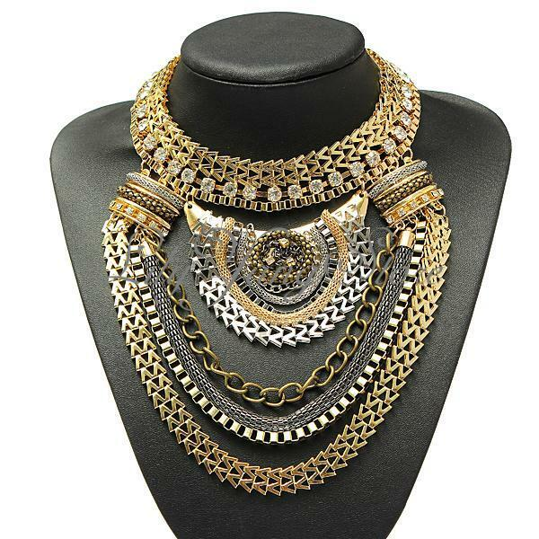 Fashion Vintage Charm Pendant Crystal Choker Chain Chunky Statement Bib Necklace
