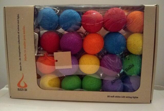 online store f6d18 cfa1e BLAZE ON Ambient Rainbow Balls 20 soft white LED string fairy lights
