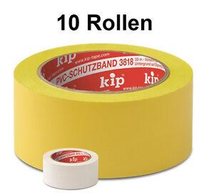 10-x-KIP-PVC-Klebeband-Schutzband-Abklebeband-Putzerband-gerillt-50-mm-33-m