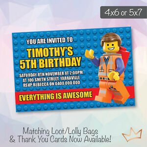 Lego Movie Birthday Party Invitations Personalised