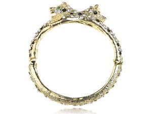 Chic-Gold-Tone-Alloy-Clear-Crystal-Rhinestone-Twin-Leopard-Cuff-Bracelet-Bangle