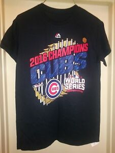 new style 7398b 59ffe Details about Chicago Cubs Shirt Majestic World Series Champions MLB Parade  Black Mens Tee New