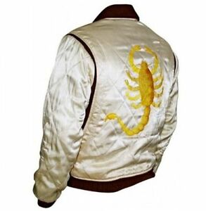 34295f820 Details about DRIVE SCORPION RIDER TRUCKER RYAN GOSLING SATIN JACKET WITH  EMBROIDERED SCORPION
