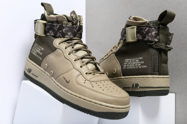 buy popular e44e0 802f4 New Nike SF Af1 Air Force 1 Mid Mens 917753-201 Olive Cargo Khaki Shoes Camo