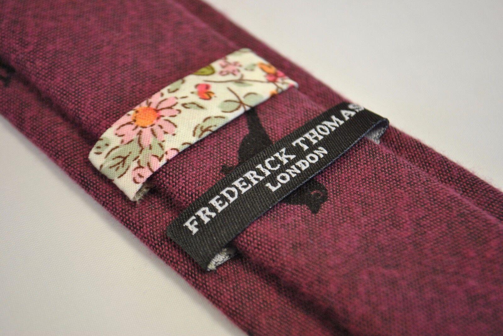 Frederick Thomas grey tie with bird design 100/% cotton FT2172 RRP £19.99
