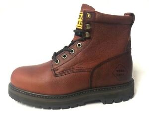 "work zone s644 cherry brown 6"" steel toe mens leather work"