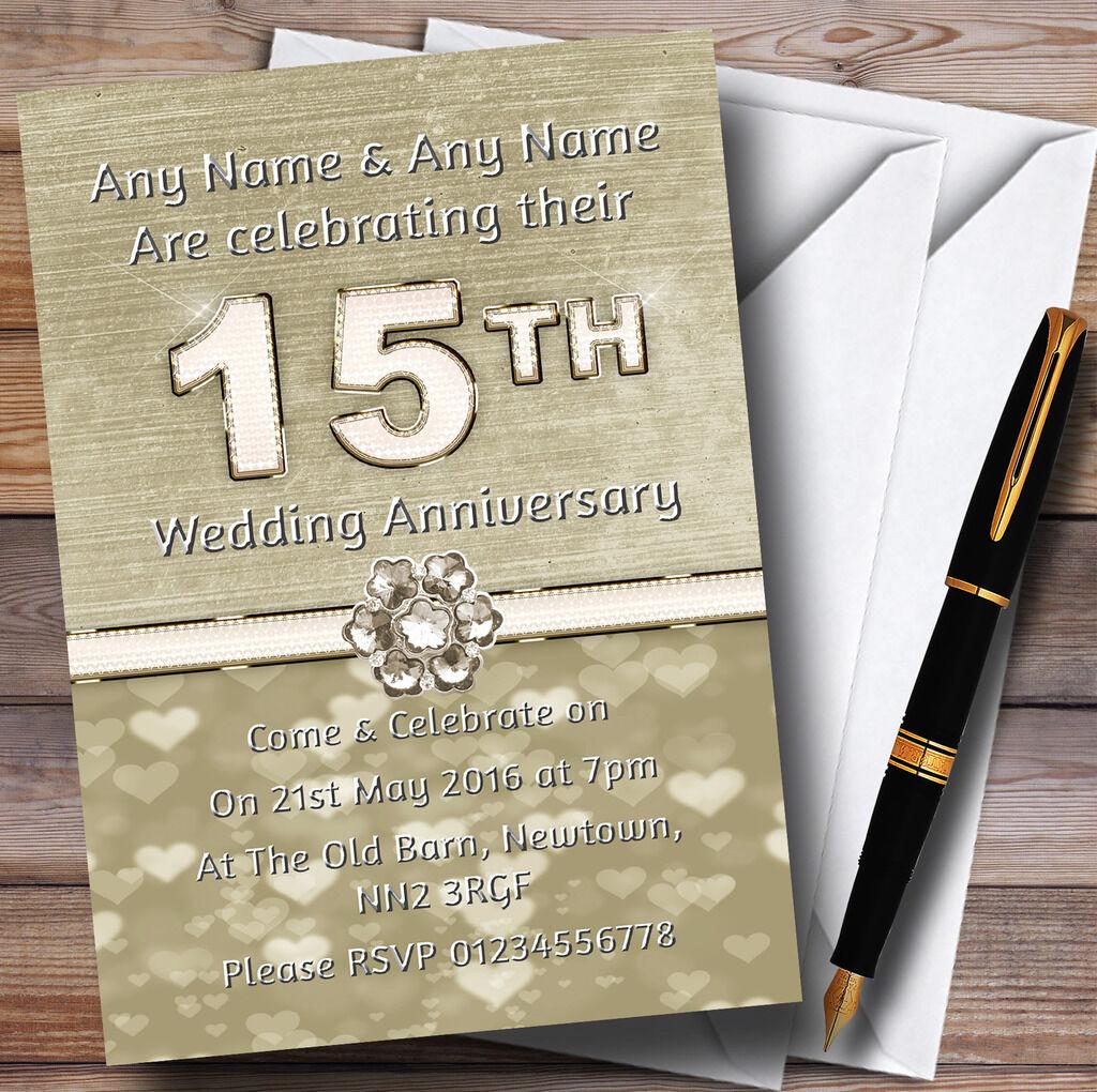 Titanium Titanium Titanium Gold And Weiß 15Th Personalised Anniversary Party Invitations 365c95