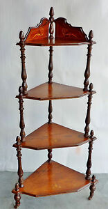 ANTIQUE-ROSEWOOD-veneer-VICTORIAN-CORNER-WHAT-NOT-stand-display-shelves-INLAYS
