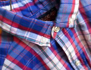 True Vtg 70s Boys Sz 14 BLUE/RED OXFORD PLAID BUTTON DOWN MOD PREP SHIRT USA