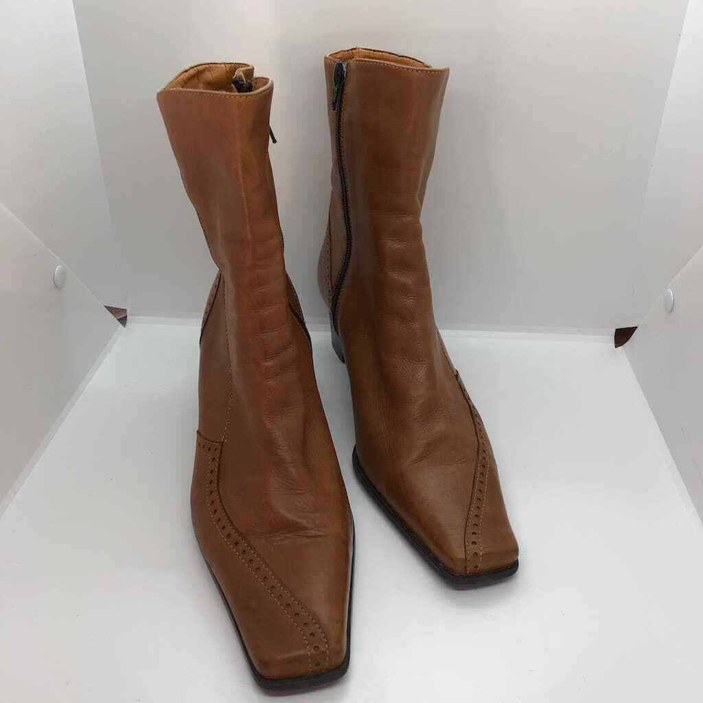 Elastomere tan leather zip up boots square toe  - image 2