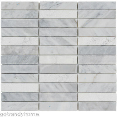 White Carrara Marble Stone Mosaic Tile Texture Blend Stacked Pattern Backsplash Ebay