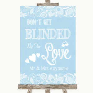 Blue Burlap /& Lace Don/'t Be Blinded Sunglasses Personalised Wedding Sign