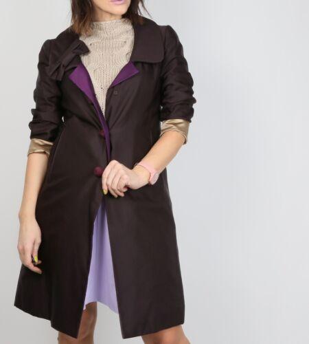 Authentic PRADA Dark Purple Wool Silk Trench Coat