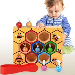 Eg-Fj-LN-Montessori-Bois-Abeilles-Pince-Boite-Enfant-Tot-Education-Coule