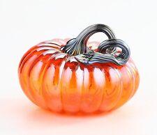 """New 5"""" Hand Blown Art Glass Pumpkin Sculpture Figurine Fall Harvest Orange"""