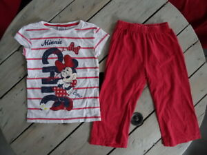Pyjama-2-pieces-manches-courtes-rouge-blanc-imprime-Minnie-DISNEY-taille-6-ans