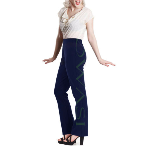 Ladies Womens Pull on Ribbed BOOTLEG Stretch Trouser WORK BOTTOM Pant Size 10-26