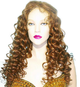 HUMAN-HAIR-Thin-Skin-Silk-Top-Indian-Remi-Remy-Full-Lace-Wig-Brown-Mix-Curly