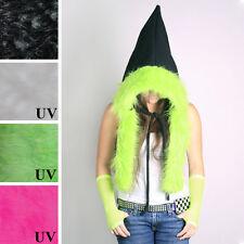 Black Pixie Hoodie Green Fur Hat Fairy Costume Festival Burning Clothing Man Diy