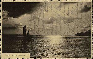 Heyst-Belgien-AK-mit-Frankatur-1920-Vers-la-Hollande-Blick-ueber-das-Meer-Boot