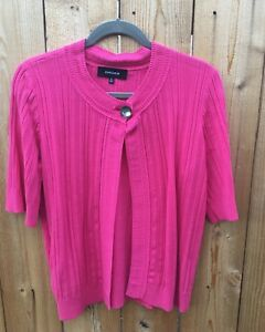 Jones Wear Hot Pink Summer Short Sleeve Sweater Suit Jacket Blazer
