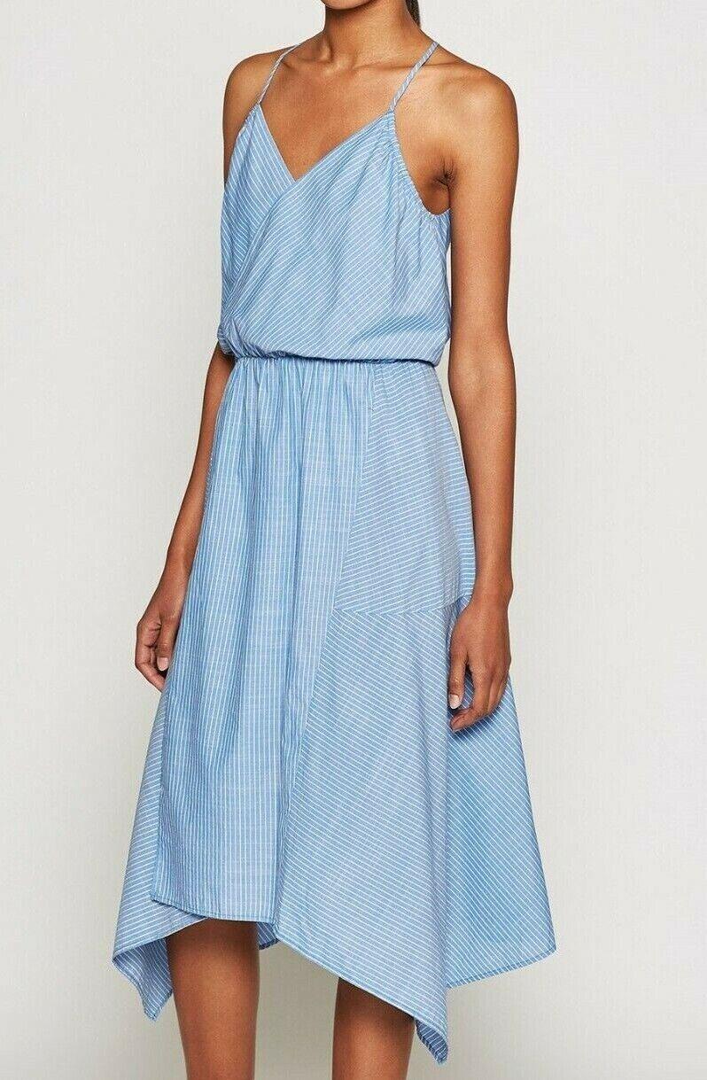 Nwt JOIE Szm Hepzibah Gestreift Chambray Wrap Asymmetrisches Kleid French Multi
