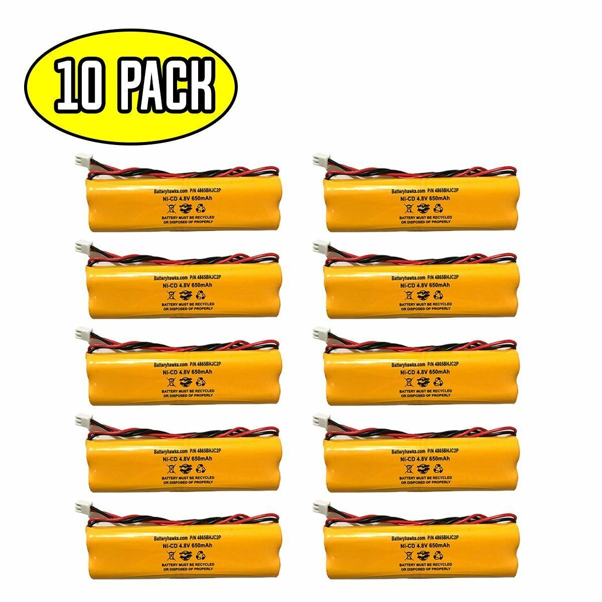 (10 pack) 4.8v 650mAh Ni-CD Battery Pack Replacement for Emergency / Exit Light